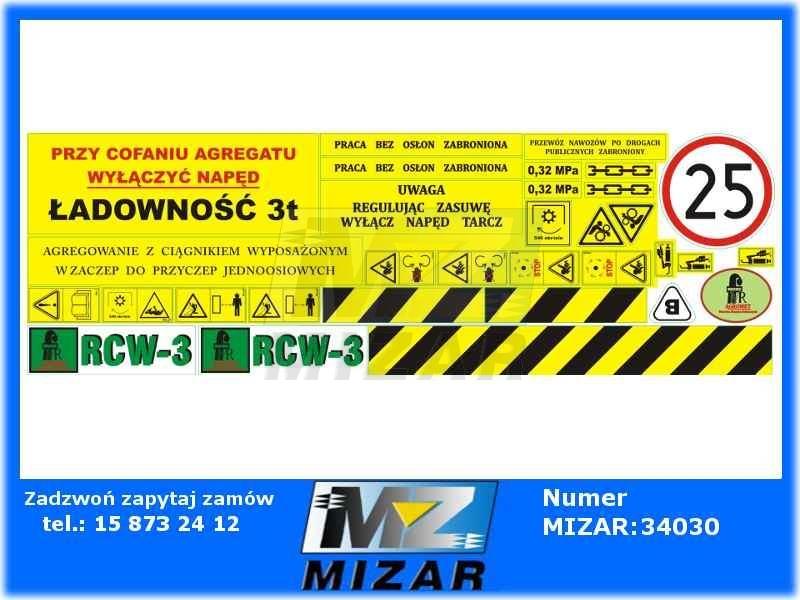 Nowość Naklejki rozsiewacza Piast RCW-3 - id. 21360 - Mizar JC05